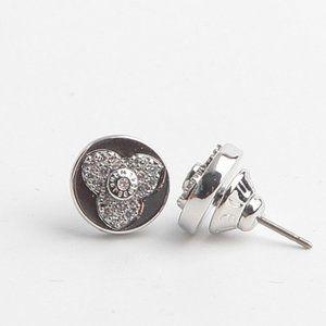 Henri Bendel Zircon Petal Logo Stud Earrings